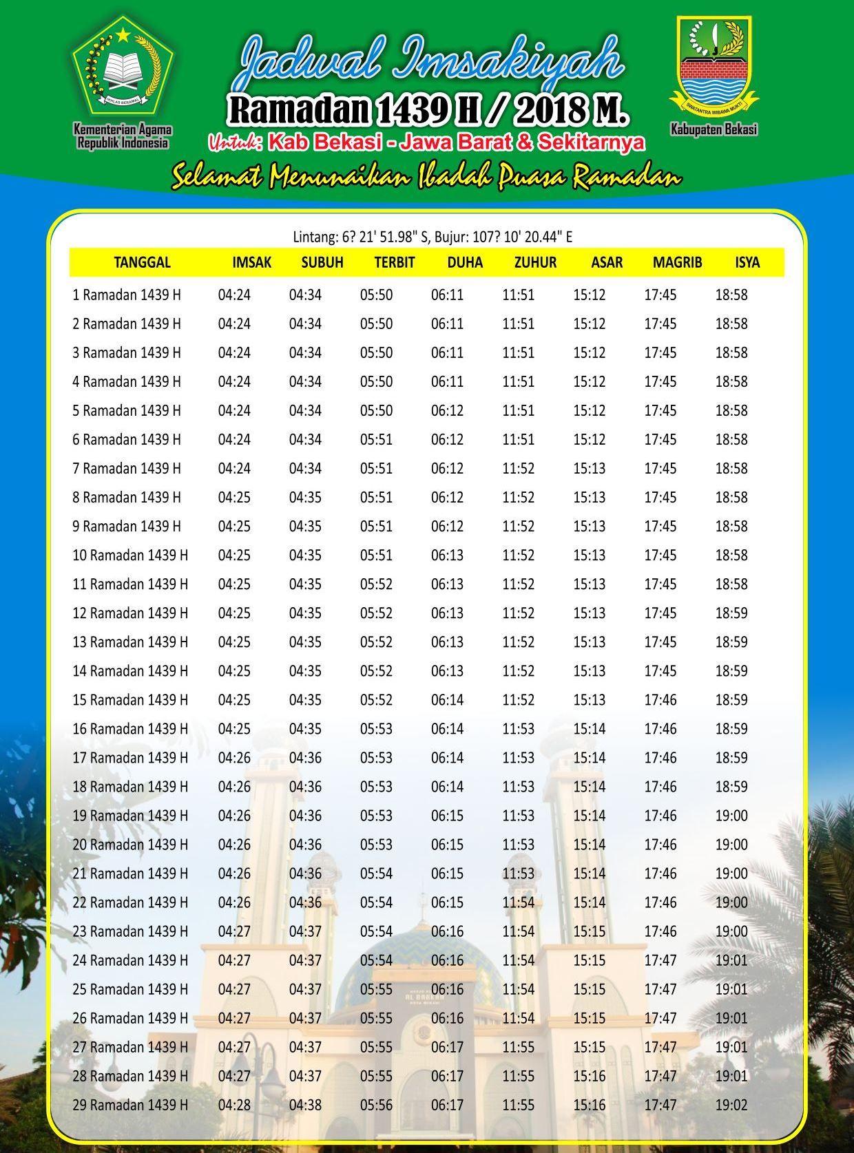 Imsakiyyah Puasa Ramadhan 1439 H 2018 Jadwal Free Download
