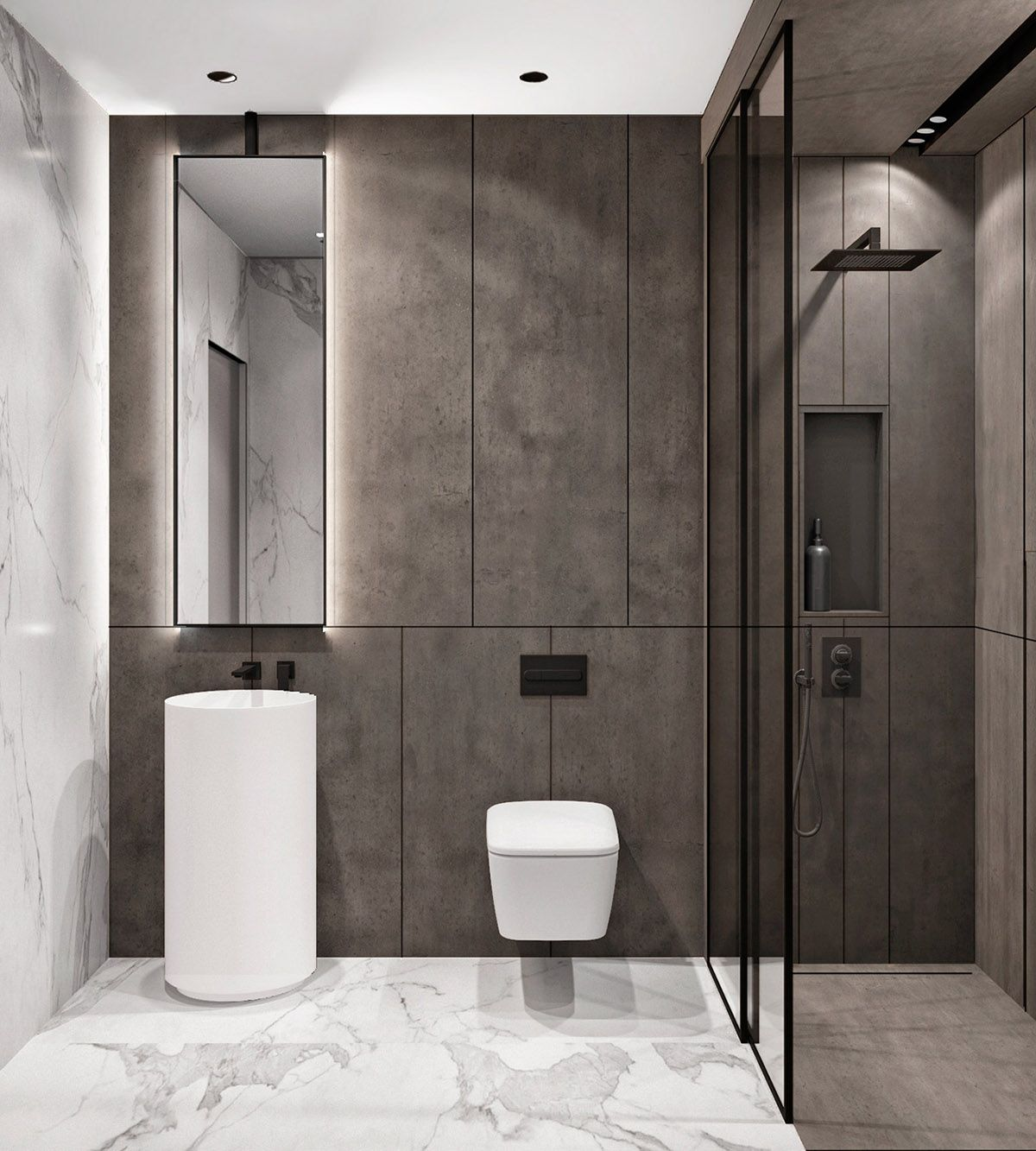 2 Modern Home Designs With Colourful Twists Bathroom Design Bathroom Interior Design Modern Toilet