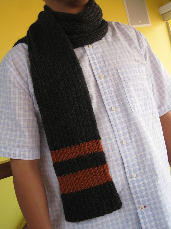 Download: Men\'s Ribbed Scarf with Accent Stripes Pattern PDF Needles ...