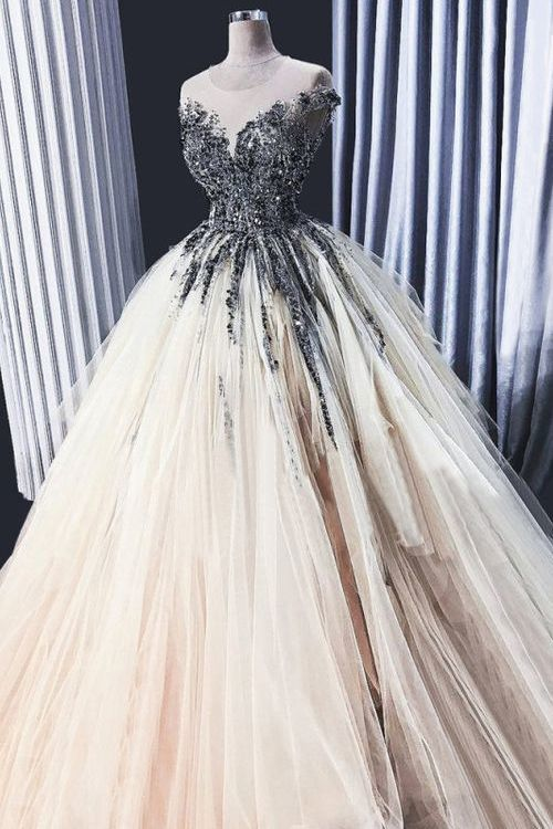 Light Champagne Sheer Neck Tulle Prom Dress with Beading, Puffy Floor Length Sequined Party Dress ML3174