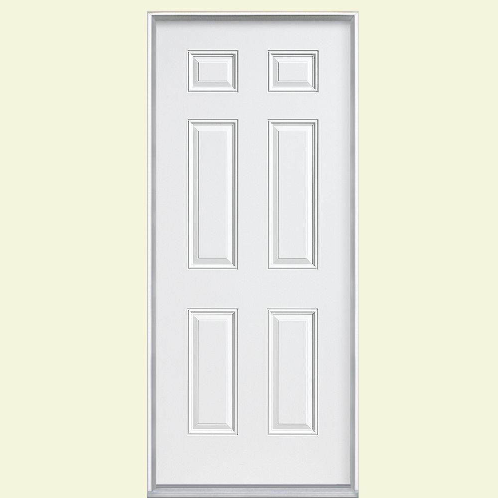 Masonite 30 In X 80 In 6 Panel Left Hand Inswing Primed Steel Prehung Front Exterior Door No Brickmold 45517 Entry Doors Steel Doors Exterior Doors