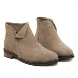 $16.77 Casual Women's Ankle Boots With Brown Suede and Round Toe Design