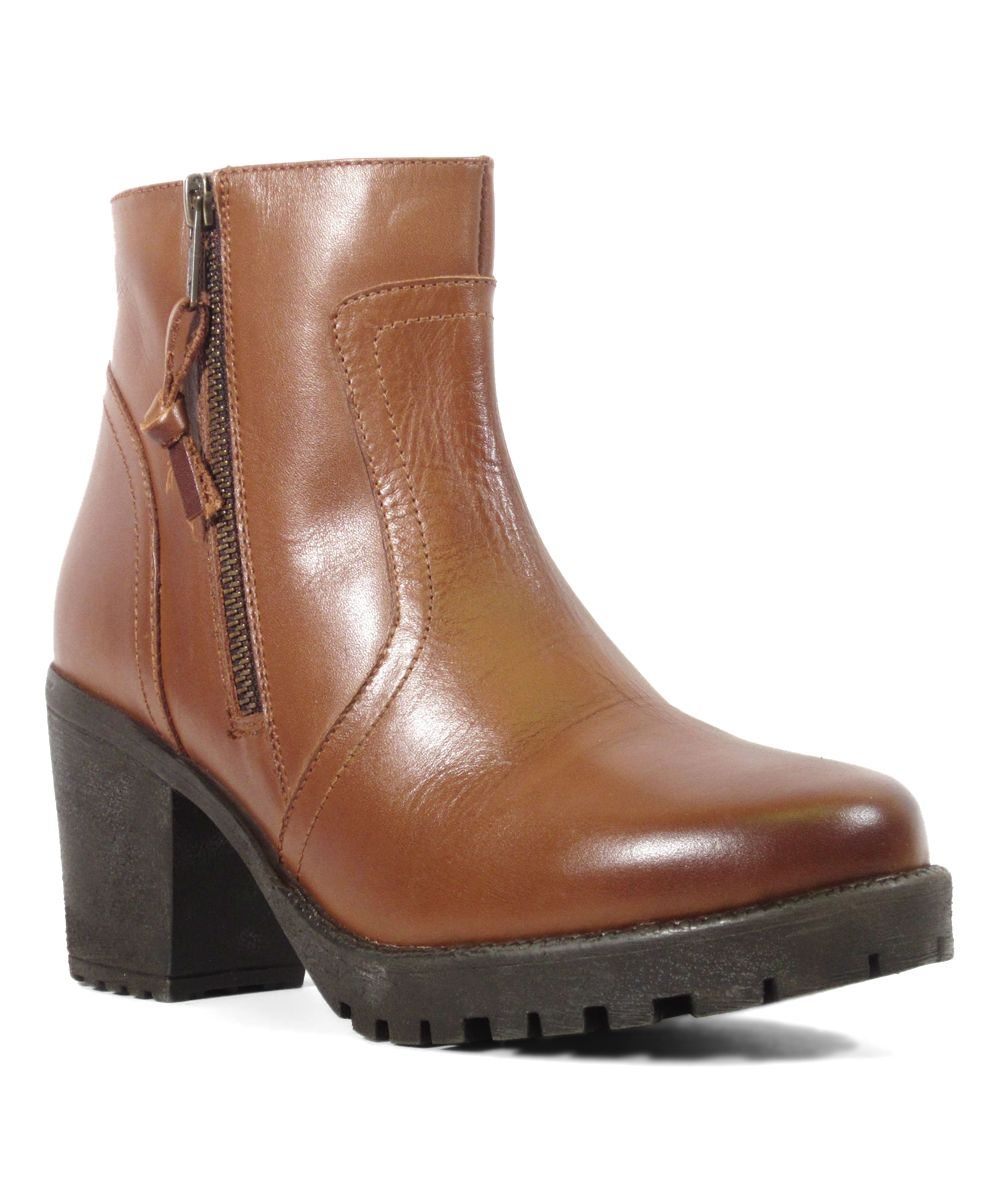 Tan Glam Leather Bootie