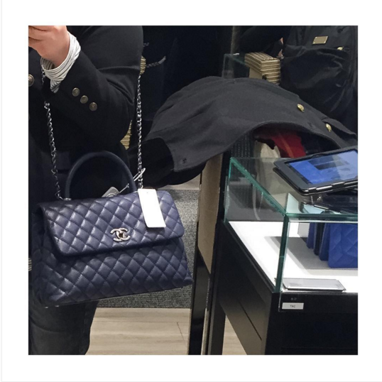 00949d02a3bd9d Chanel Blue Coco Handle Medium Bag | Bags in 2019 | Chanel coco ...