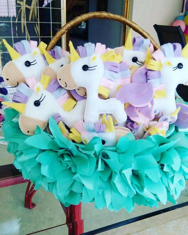 Unicornio baby shower corsage recuerdo fieltro - Fiesta baby shower nina ...