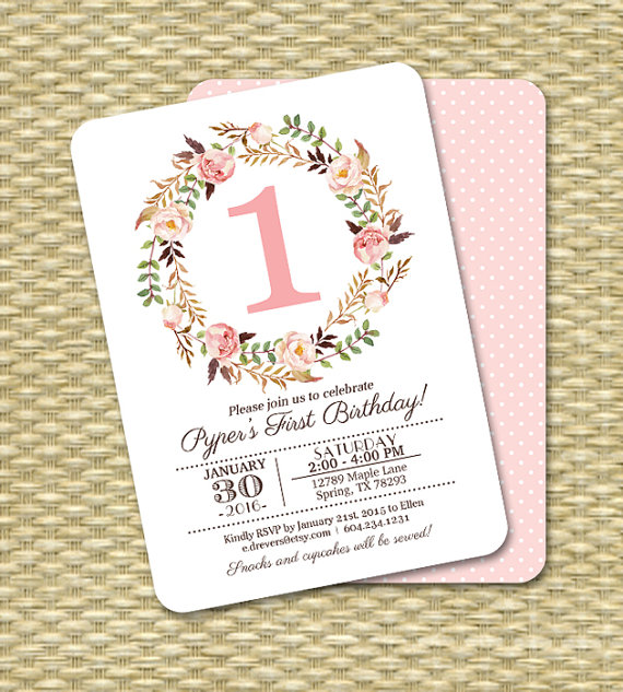 1st Birthday Invitation Girl Baby Girl Pink Watercolor Floral ...