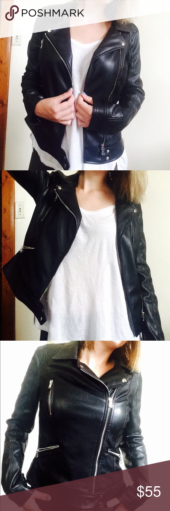 Zara Moto Jacket Faux black leather with lots of sliver zippers makes this jacket the perfect edgy outer layer! It can be zipped but I preferred to wear open, since it is cropped length. Size medium but leans towards the small side. Worn once or twice--pristine condition. Zara Jackets & Coats Utility Jackets
