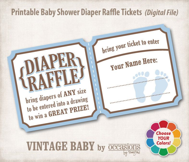 INSTANT DOWNLOAD, Printable Baby Shower Diaper Raffle Tickets, 4x6 - prize winner letter template