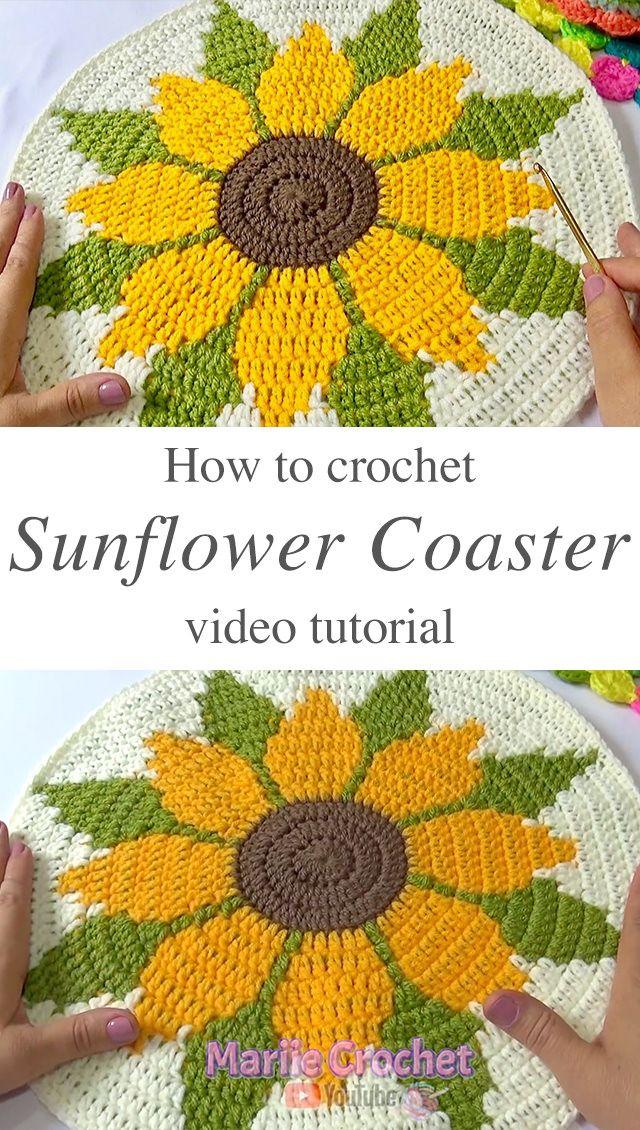 Crochet Sunflower Coaster You Can Make Easily | CrochetBeja