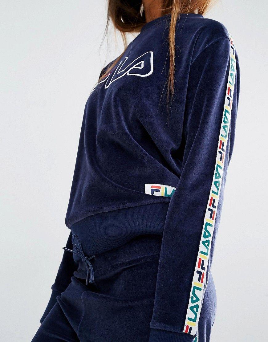 57fff2e78b138 Image 3 - Fila - Sweat en velours avec bande sur les manches et logo  appliqué