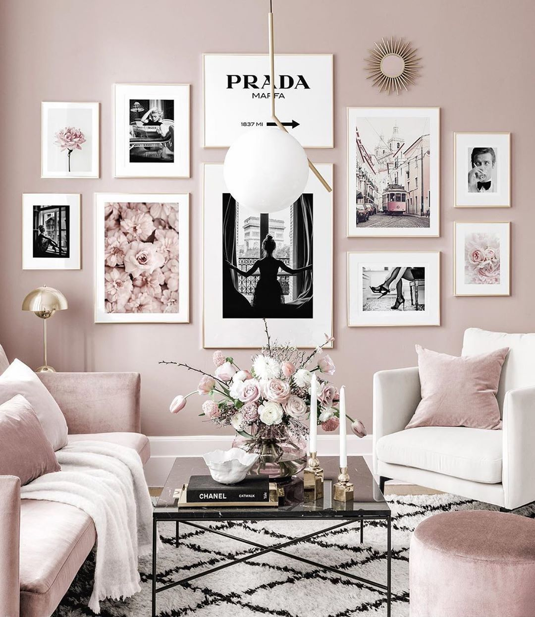 Interiors Home Decor Ideas On Instagram Beautiful Living Room With Posters Decor The Easies In 2020 Pink Living Room Living Room Decor Gallery Wall Inspiration