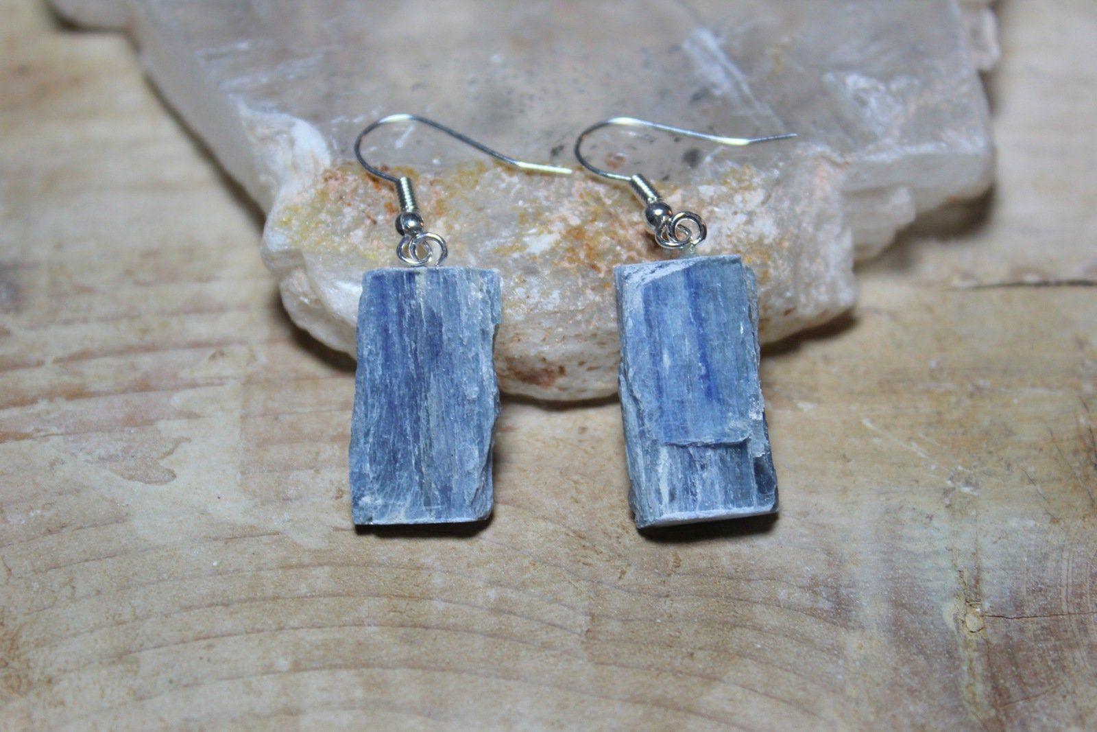 Kyanite Earrings 925 Sterling Silver Healing Crystal Gemstone Throat Chakra Gift