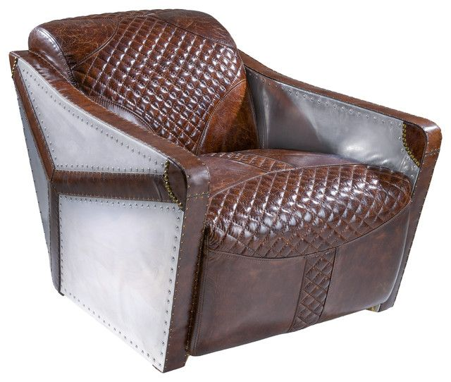 Best Modern Brown Leather Chair Aviator Aluminum Metal Vintage 400 x 300