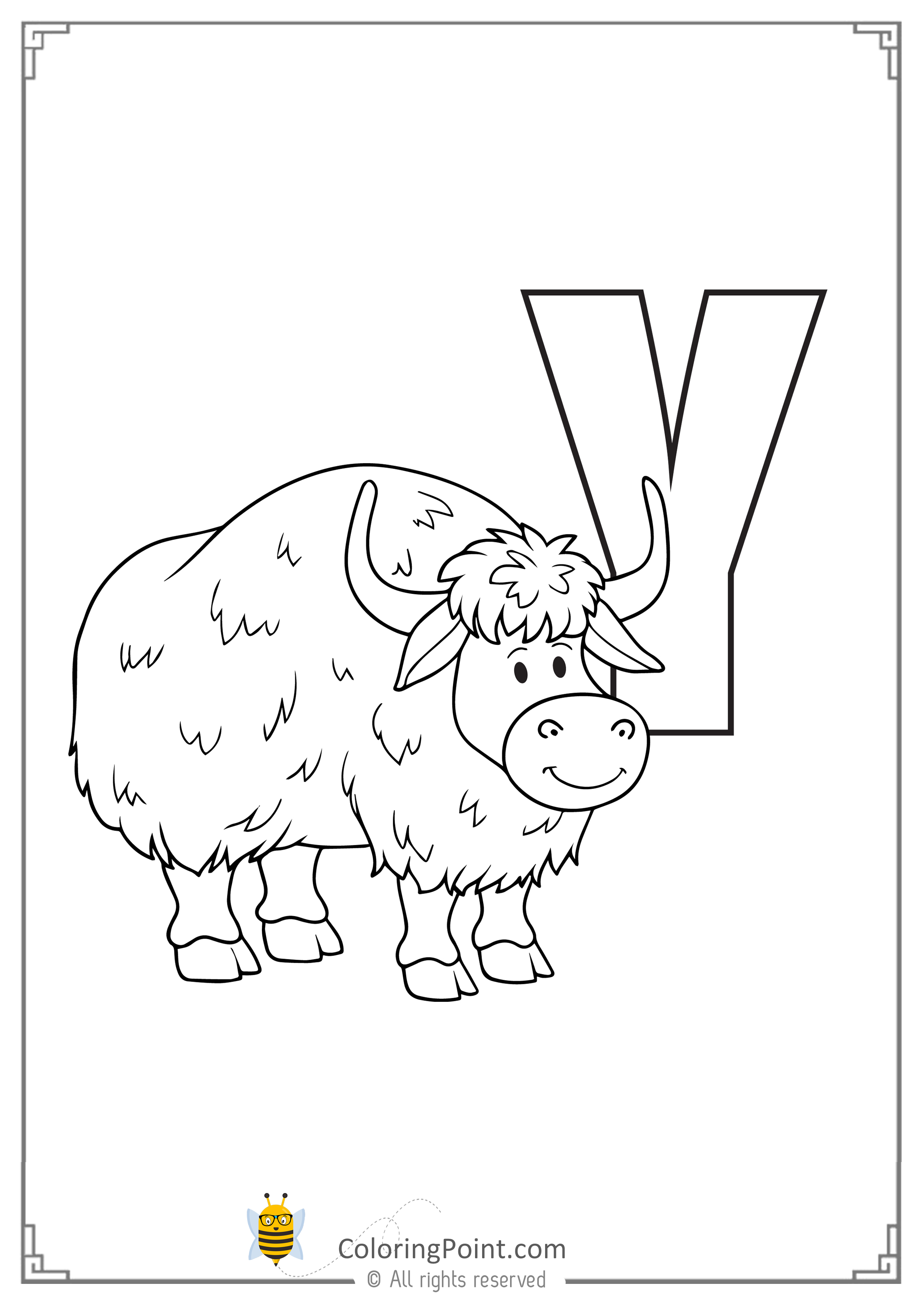 Printable Animal Alphabet Worksheets Letter Y Is For Yak Coloring Point Coloring Point Animal Alphabet Printable Animals Alphabet Worksheets