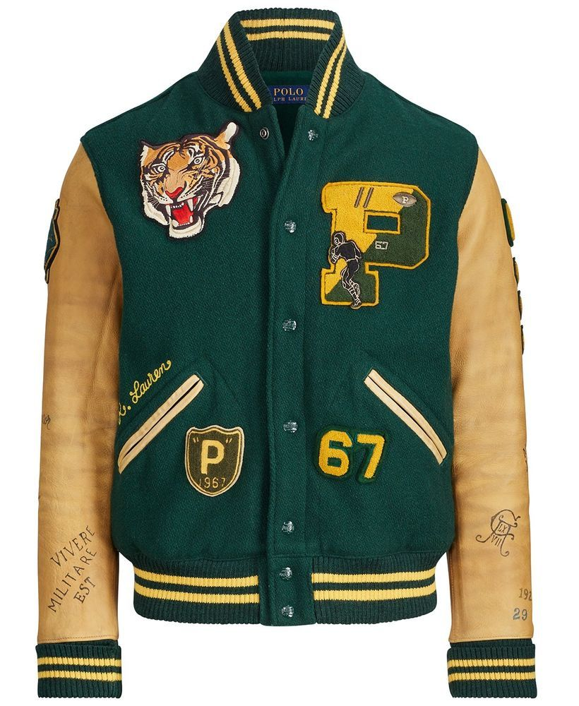Tiger Polo Blend Varsity Ralph P Patch Letterman Leather Lauren Wool 9IWH2eYbDE