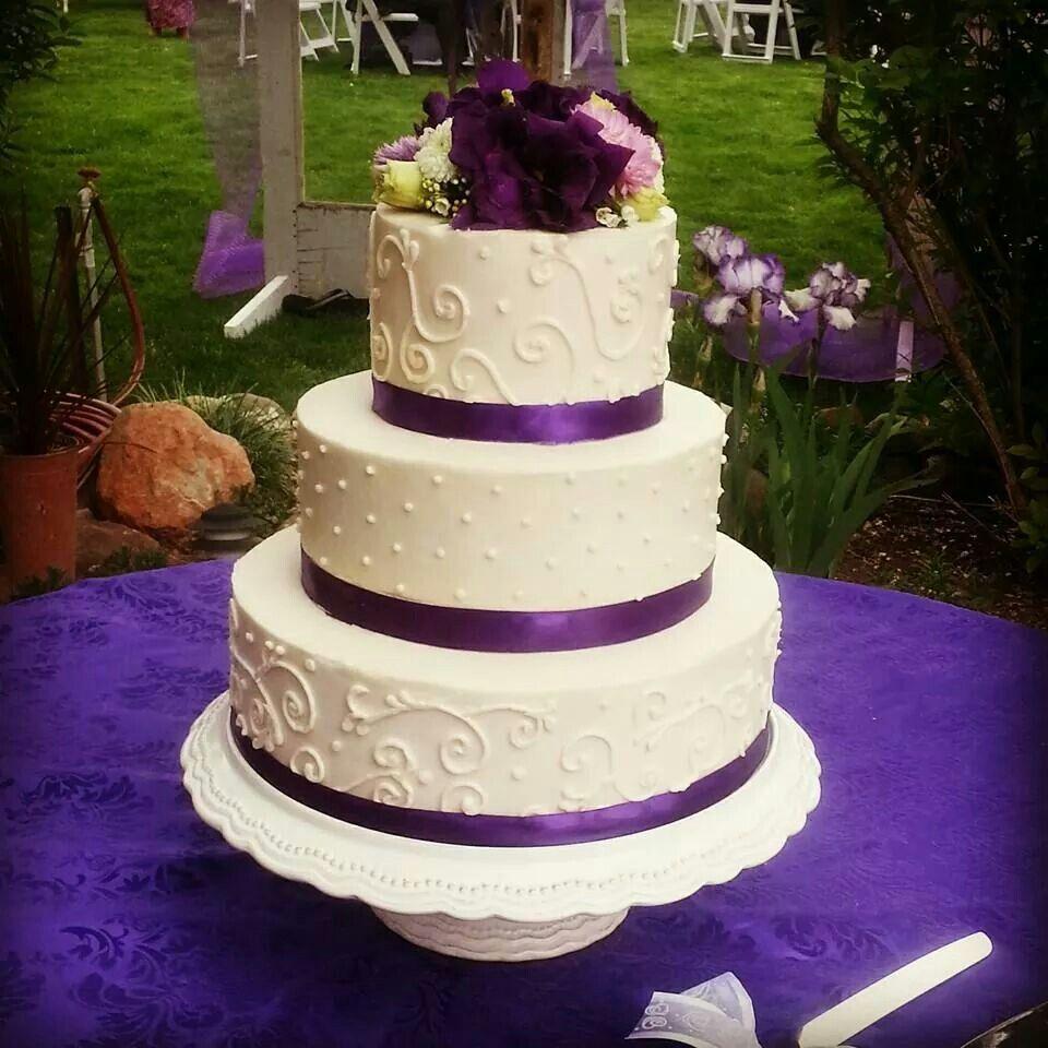 Buttercream And Purple Ribbon Wedding Cake Wedding Cake Ribbon