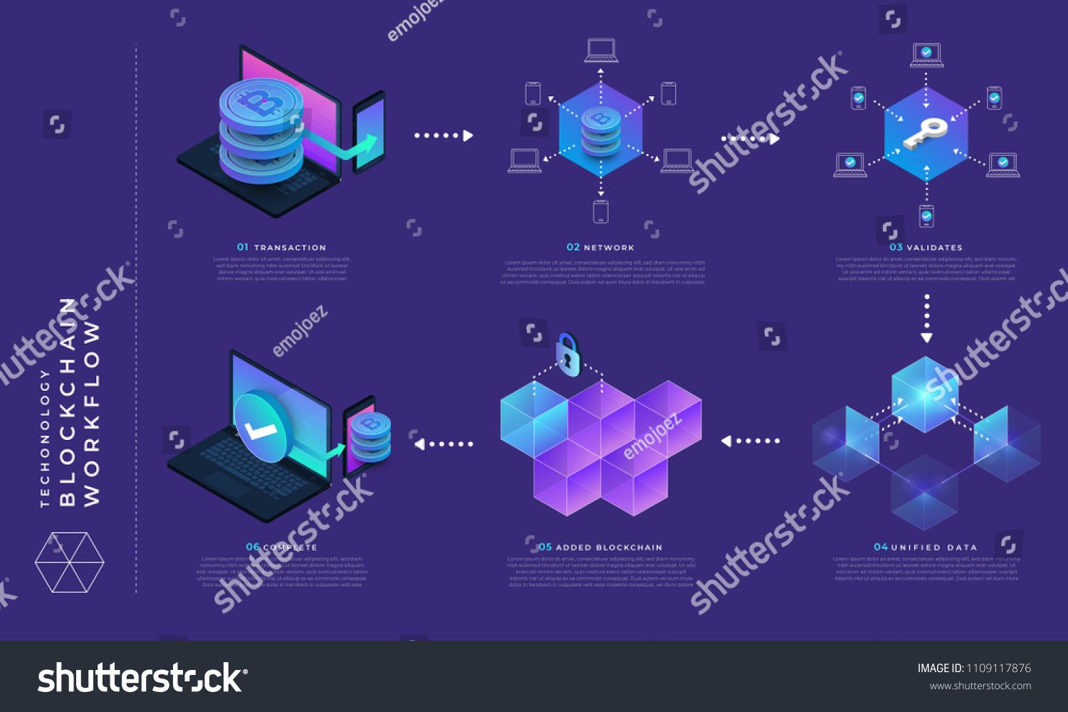Flat design concept blockchain and cryptocurrency