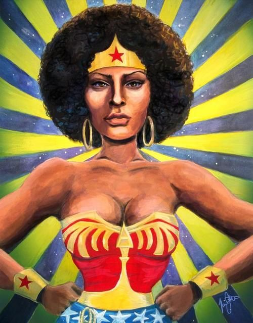 Do I need to mention the awesomeness of this?!!  Um, no.  Foxy Wonder Brown Woman by Mia Renee Johnson via natural-queen-of-coarse.tumblr.com