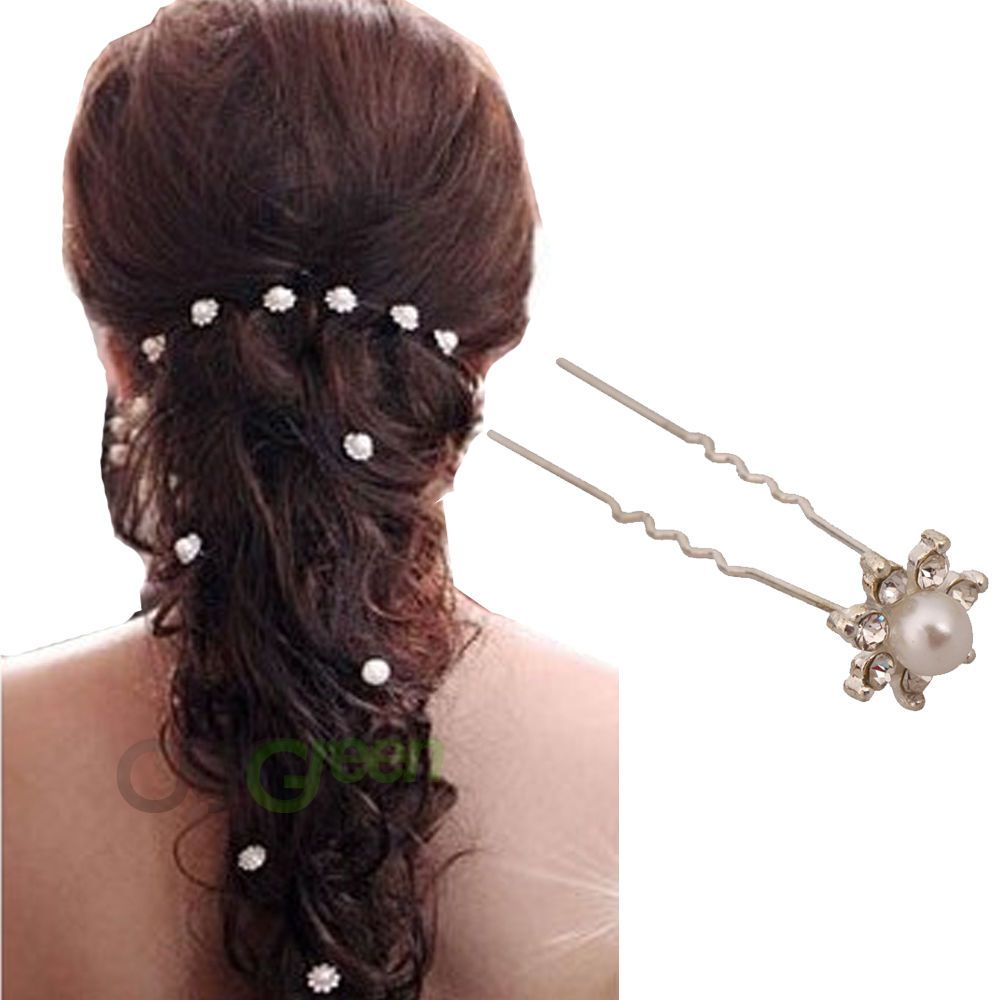 20 pcs women hair comb pin bridal wedding crystal faux pearl