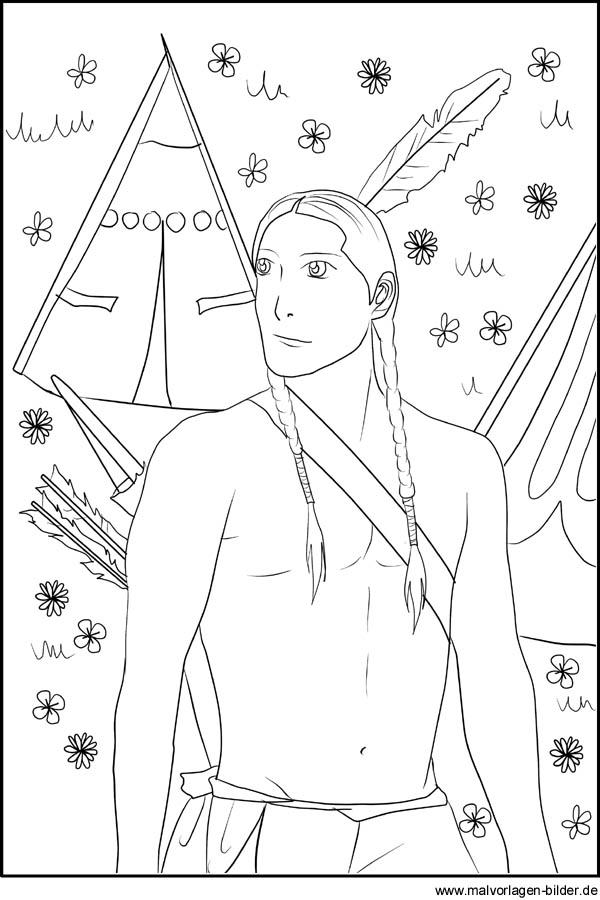 malvorlagen indianer zum ausdrucken word