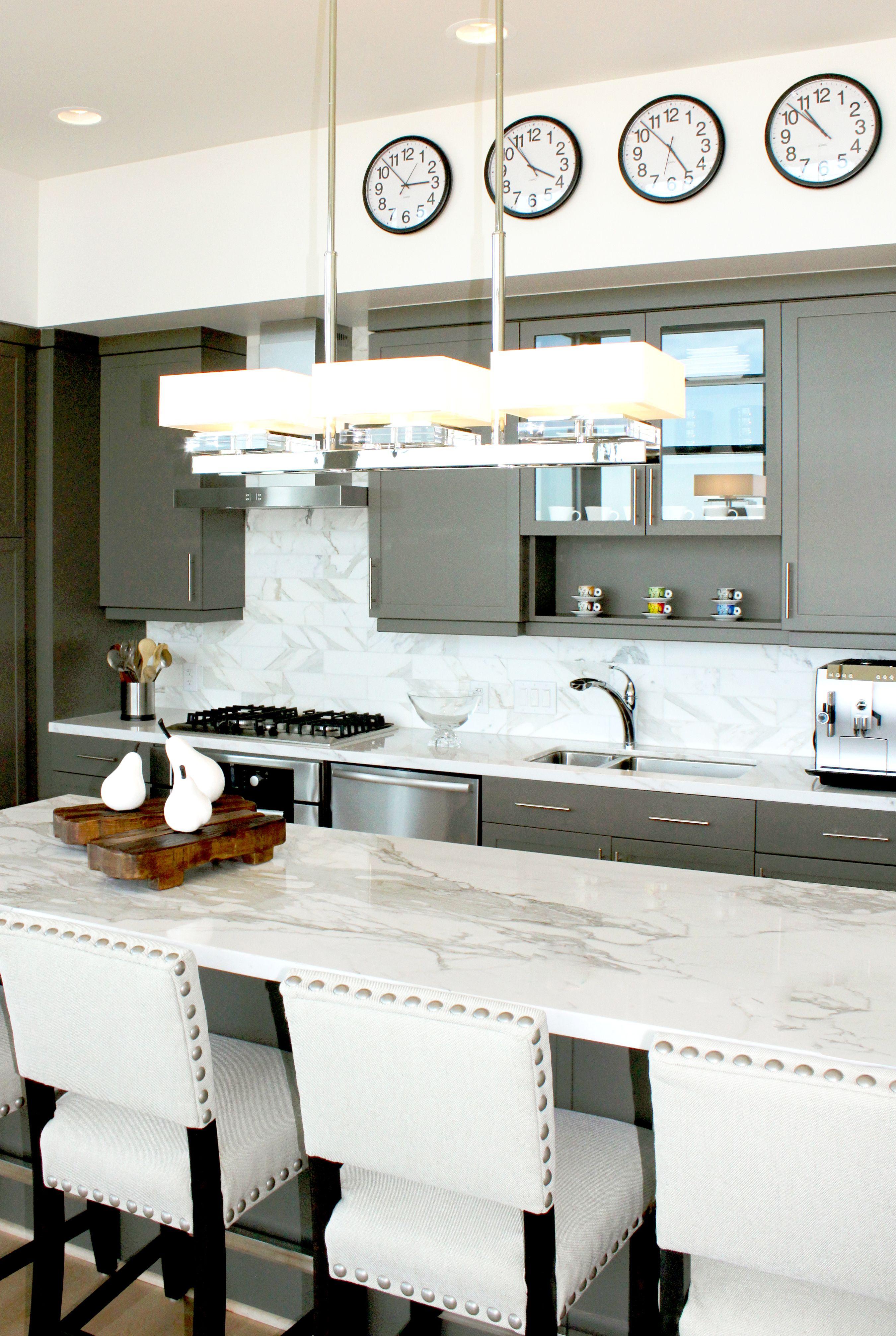 Modern white and grey kitchen by Design House, Houston TX. White ...