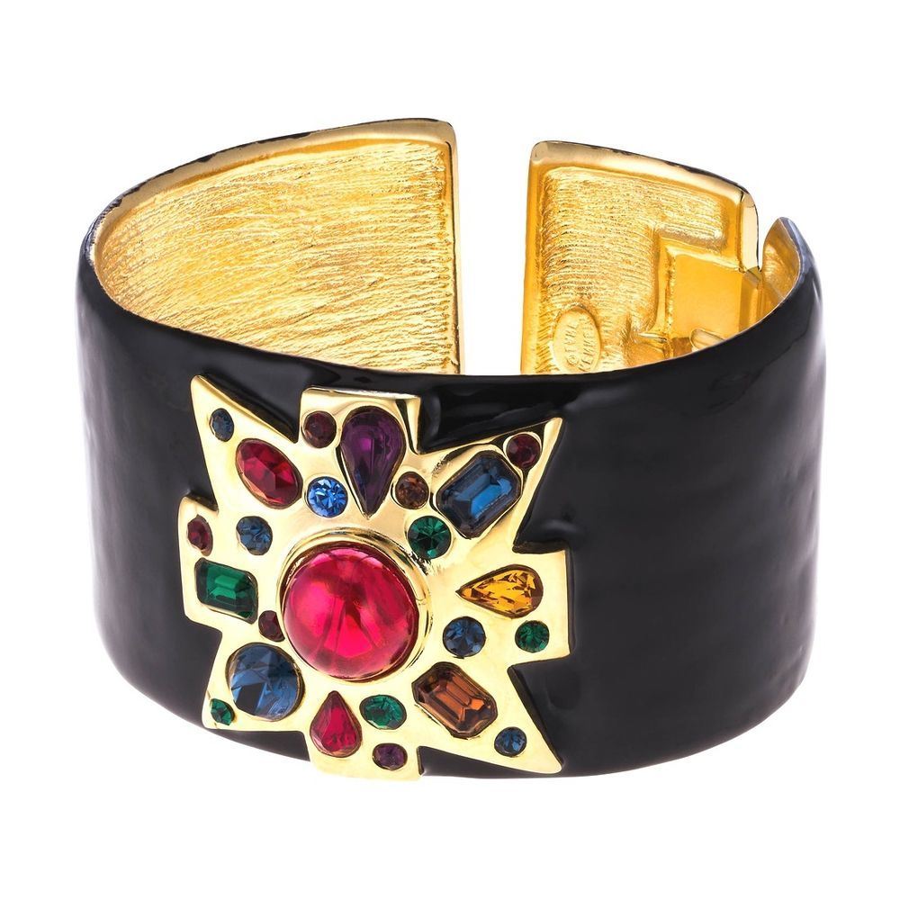 Kenneth Jay Lane Gold-plated Enamel Bracelet - Black 5IUFAADVV