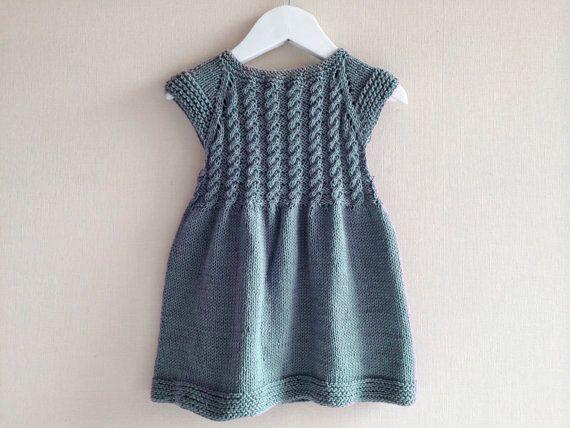 Vestido de niña, tejido a mano, vestido tejido, tejido de algodón, trenzado color gris