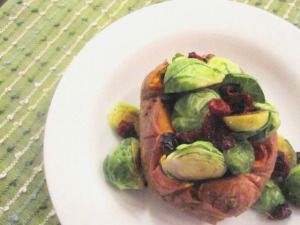 Baked Sweet Potato with Cranberries and Brussels Sprouts   neatandnutritious.com