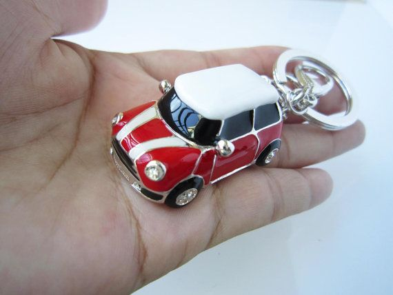 Mini Car Keychain Chili Red Car White In Car Roof And Stripes Drop
