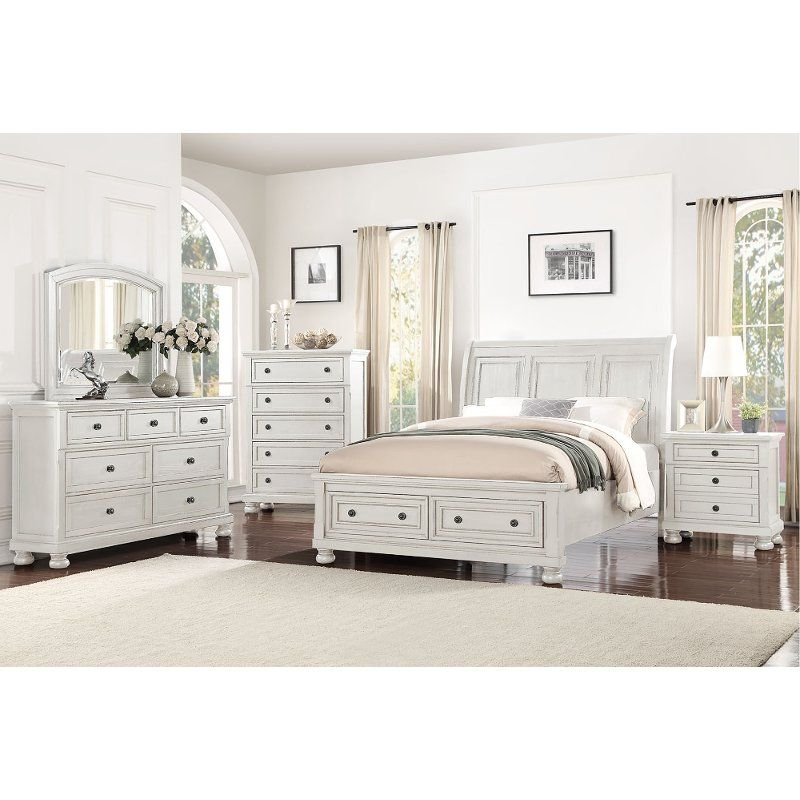 Classic Traditional White 4 Piece King Bedroom Set Stella With
