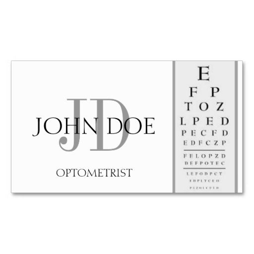 Optometrist Chart White Business Card Zazzle Com White Business Card Doctor Business Cards Business Card Management