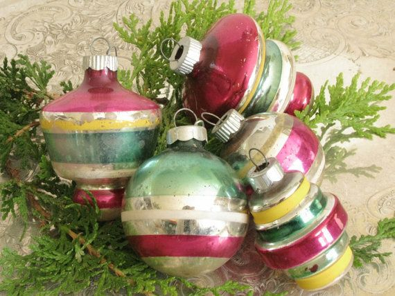 Vintage Striped Christmas Ornaments  Mid by VintageAccentsStudio