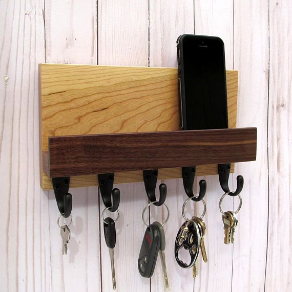 Mail And Key Holder For Wall Wood Key Rack Entryway Wood Phone Stand Handmade Home Decor Home Decor
