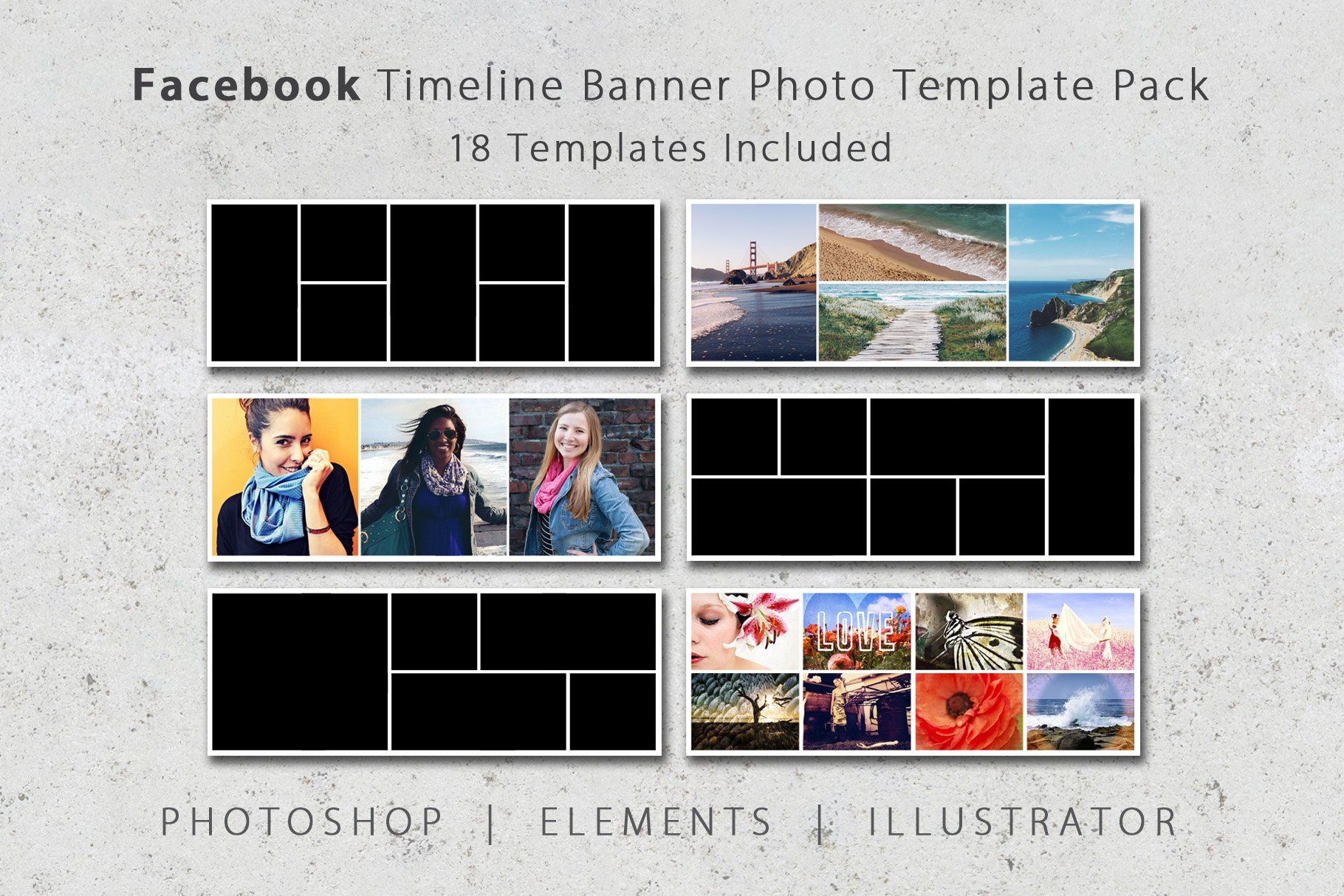 Facebook Timeline Cover Template Pack 18 Templates Included