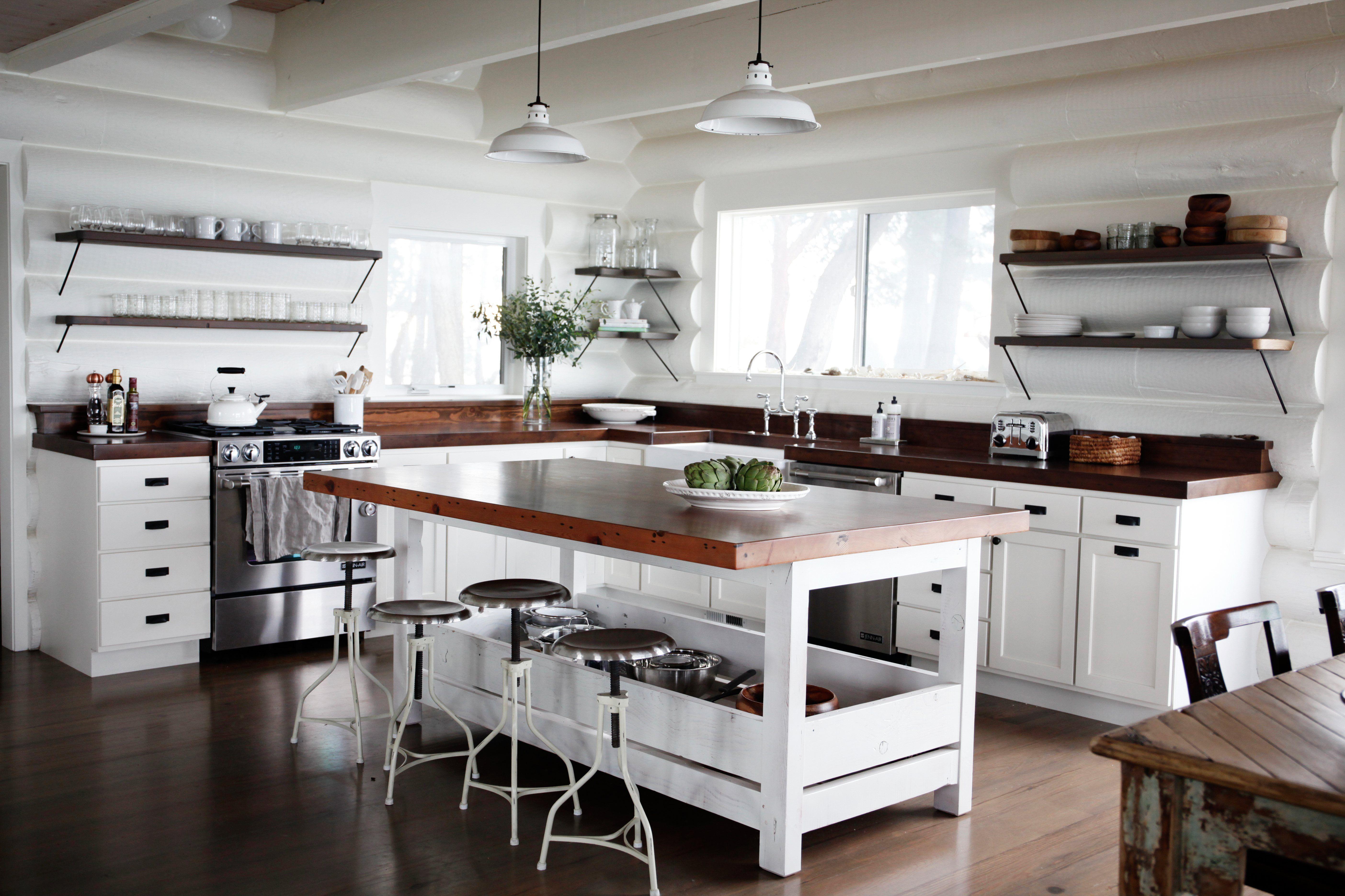 Classic new whitewashed cabin kitchen san juan islands log wall