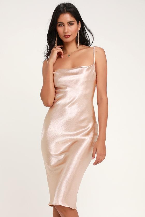 Brazen Babe Blush Satin Cowl Neck Midi Slip Dress Best Cocktail Dresses Satin Midi Dress Satin Slip Dress