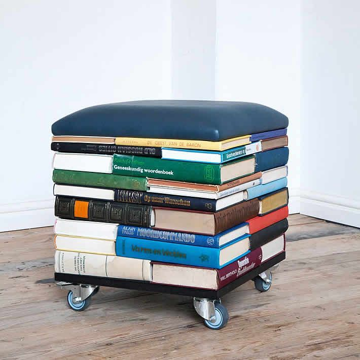 BookPouf: stacked books furniture by Sledgecorner #recyclingfurniture