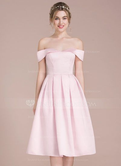 45204d1be67 A-Line Princess Off-the-Shoulder Knee-Length Zipper Up Regular Straps  Sleeveless No Blushing Pink Spring Summer Fall Winter General Plus Satin  Bridesmaid ...