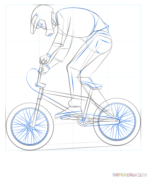 How To Draw A Bmx Biker Step By Step Drawing Tutorials For Kids
