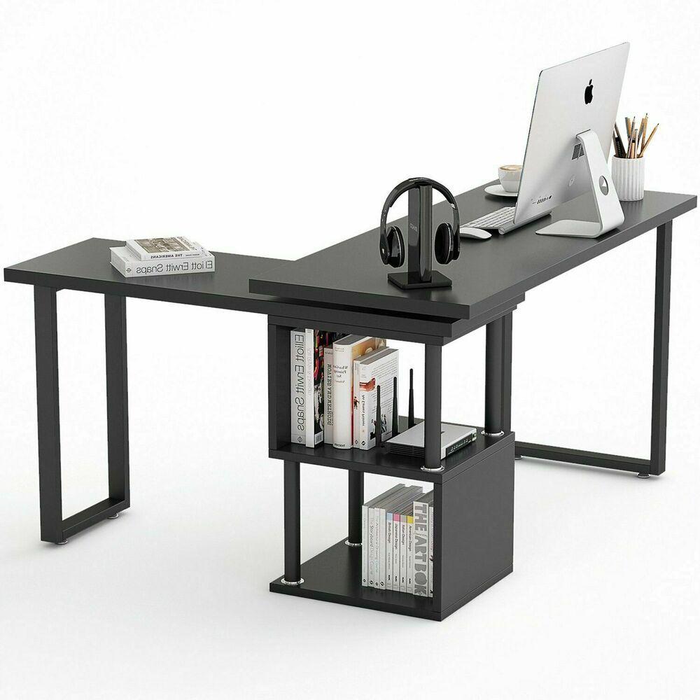 L Shaped Rotating Desk Corner Computer Desk Rotatable Writing Table W Storage Affilink Desk Desksetup Modern Storage Ebay