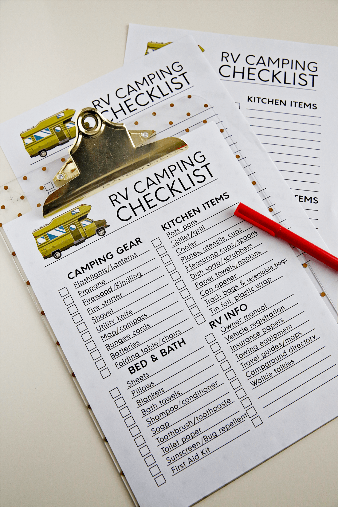Printable Rv Checklists Rv Vacation And Camping