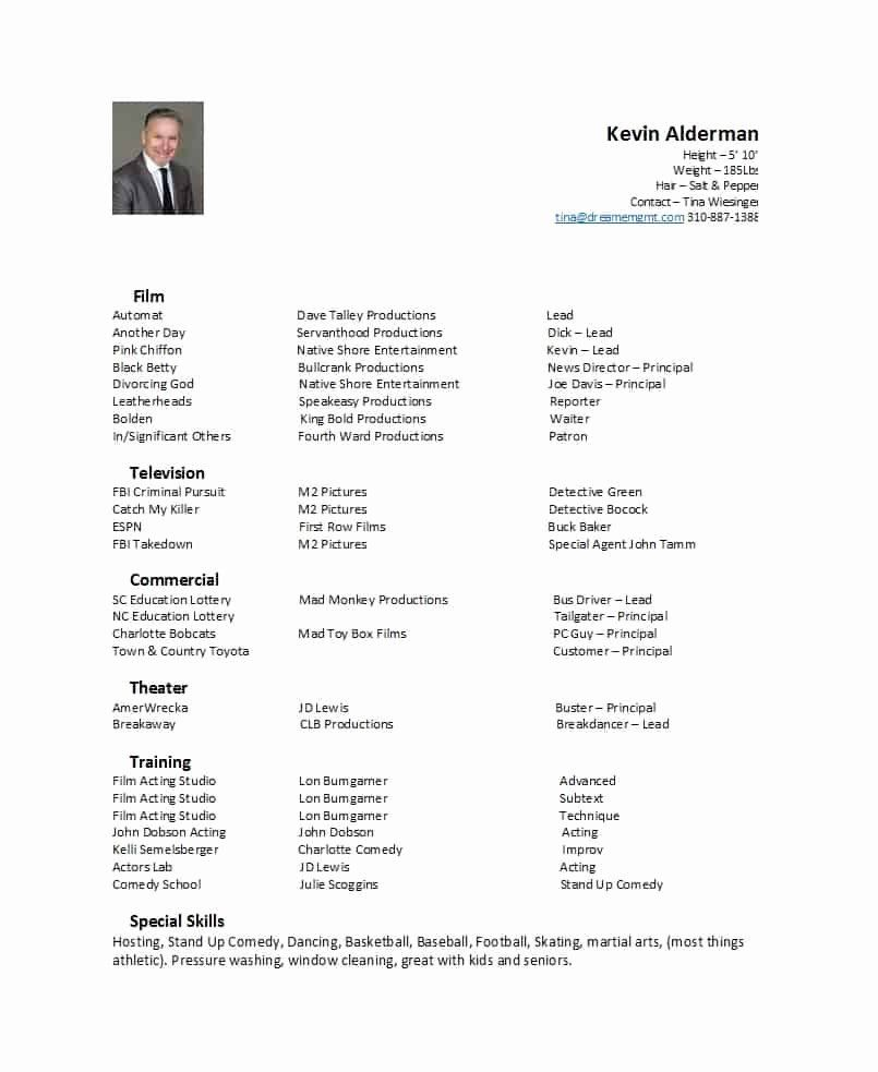 Theatre Resume Template Google Docs New 50 Free Acting