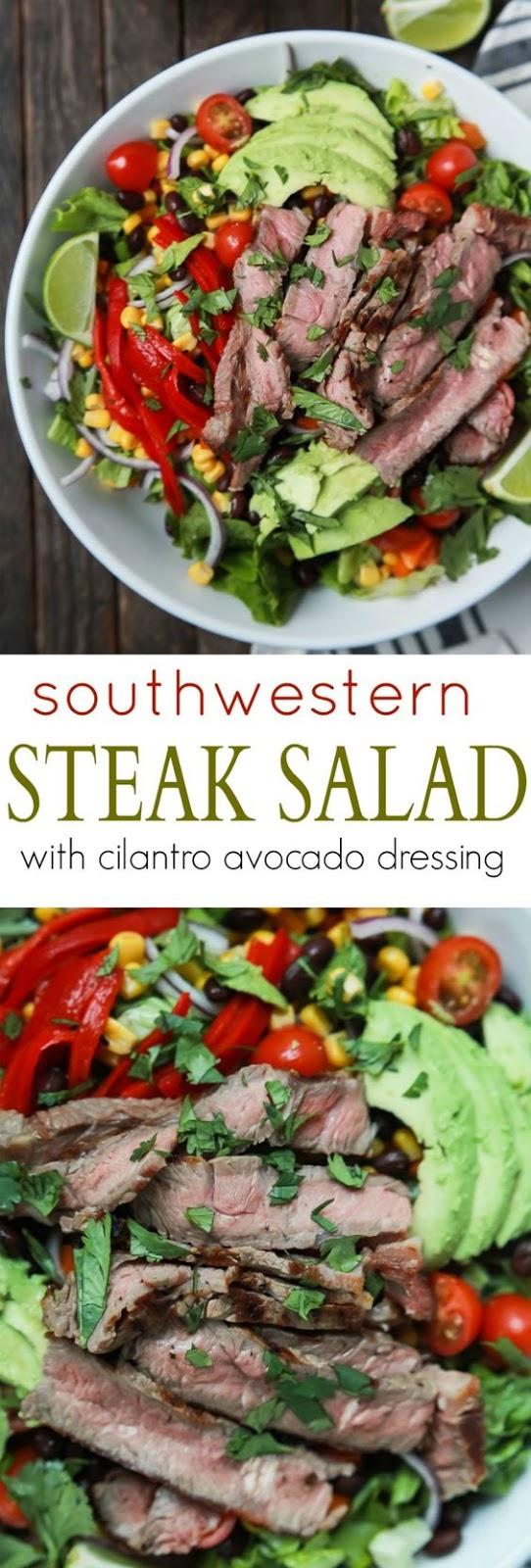 Southwestern Steak Salad with Cilantro Avocado Dressing images