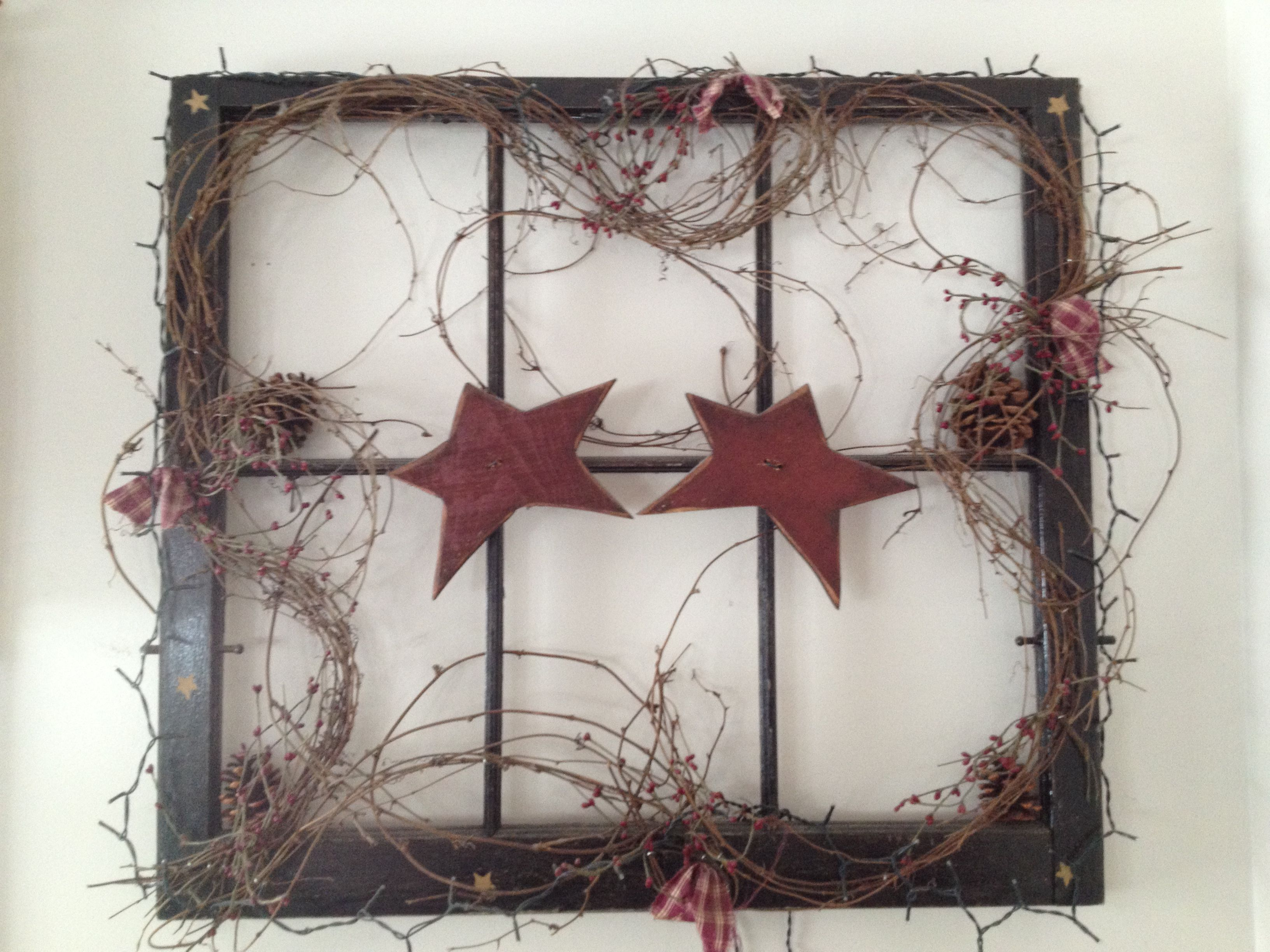 Country wreath   Window crafts, Primitive decorating ...  Primitive Window Frame Decor