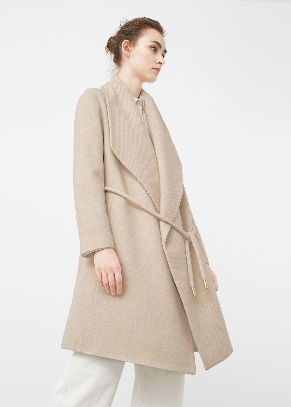 Abrigo lana maxi solapas | MANGO