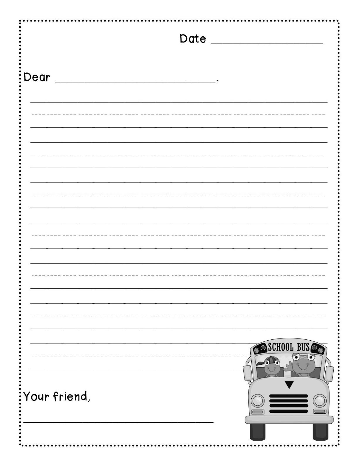 Letter Writing Paper For Second Grade