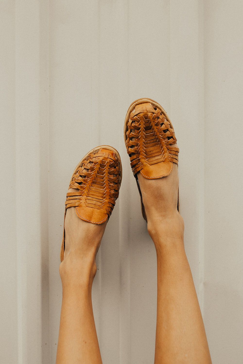 cb10ea71ec7e Toffee Huarache Leather Sandals Enclosed Rounded Toe + Heel Leather Weaving  Detail Gloss Coat If In