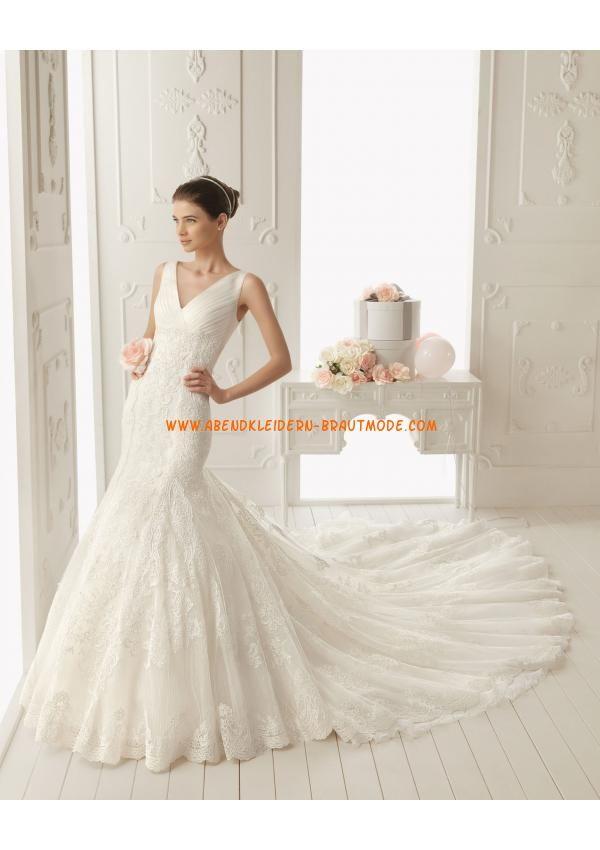 Traumhafte Brautkleider mit Spitze rückenfreie Brautkleider V-Ausschnitt mit Schleppe