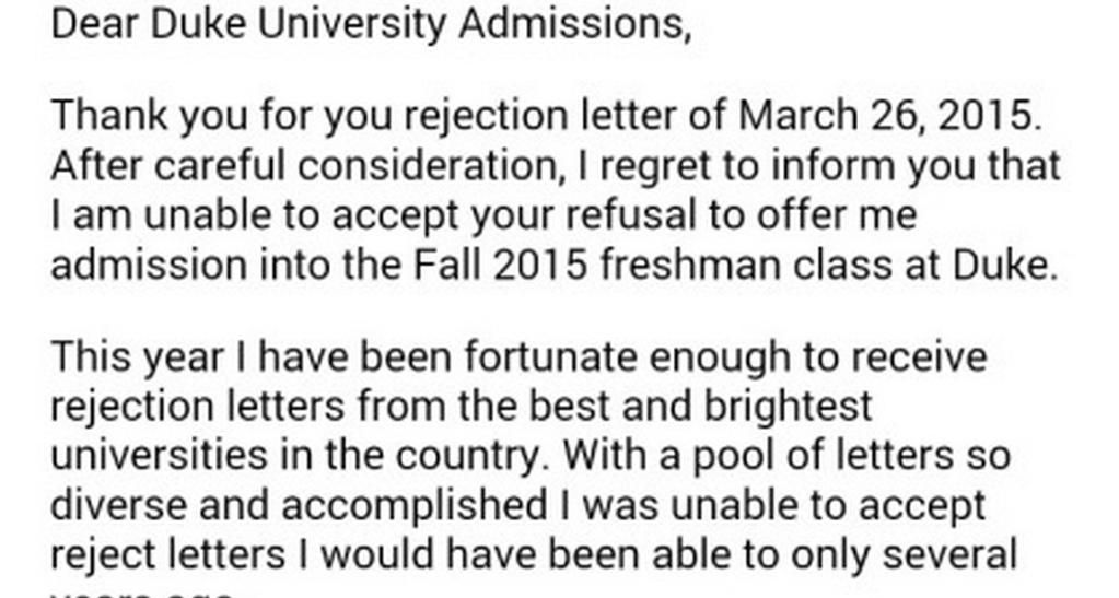 Teen\u0027s rejection of college rejection letter goes viral Q13 FOX a - rejection letter sample