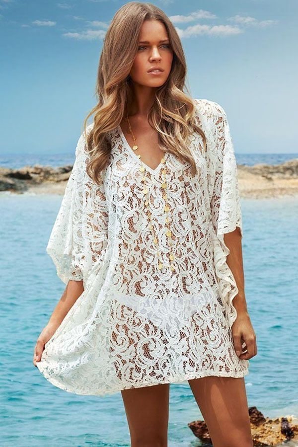 bcd512d67557e New Sexy Honeymoon Beach White Swimsuit Cover Up Dress Bikini Tunic Kaftan  129 #Unbranded #BeachDressSwimsuitCoverBikini. Sexy White Women V Neck Lace  ...